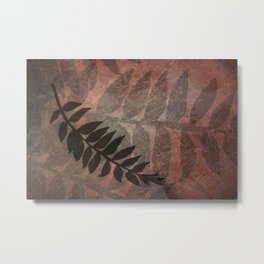 Pantone Living Coral Abstract Grunge with Fern Leaf - Foliage Silhouettes Metal Print