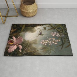 Orchids And Spray Orchids With Hummingbird 1890 By Martin Johnson Heade | Reproduction Rug