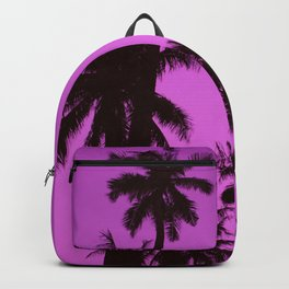 Tropical palm trees on blue pink Backpack