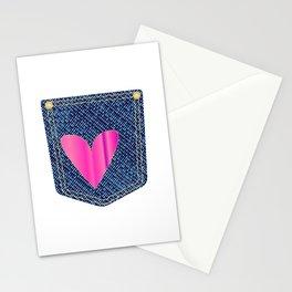 Heart Denim Pocket Stationery Cards