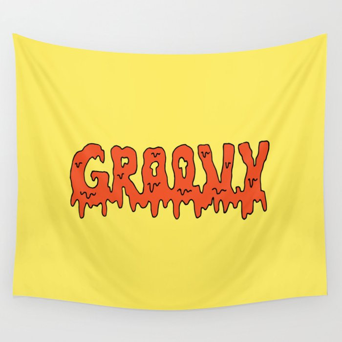 Groovy -- Yellow Wall Tapestry by kj53321 | Society6