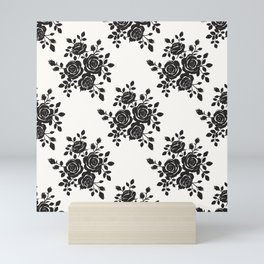 Black Roses Romantic Pattern Mini Art Print