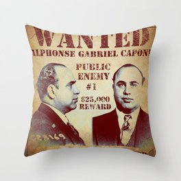 Al Capone FBI Wanted Poster Throw Pillow