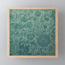 art Nouveau,teal,William Morris style, floral,chic,elegant,modern,trending,victorian decor,floral pa Framed Mini Art Print