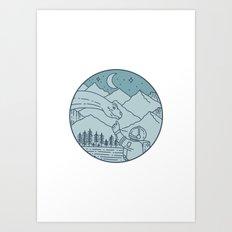 Astronaut Brontosaurus Moon Stars Mountains Circle Mono Line Art Print