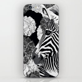 ZEBRA AND CABBAGE ROSES BLACK AND WHITE iPhone Skin