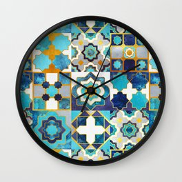 Spanish moroccan tiles inspiration // turquoise blue golden lines Wall Clock