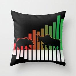 Bear VS Bull Stock Exchange Money Profit Shareholder Share Gift Throw Pillow