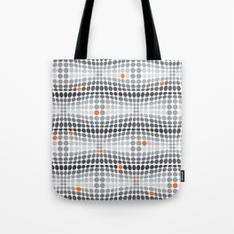 Dottywave - Grey and orange wave dots pattern Tote Bag