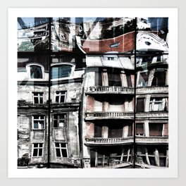 Reflections of Buildings on Buildings in Belgrade Art Print