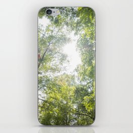 Arms raised in a forest iPhone Skin