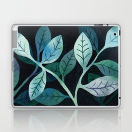 Watercolor leaves in shades of blue and teal Laptop & iPad Skin