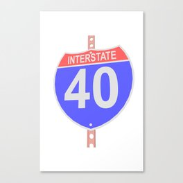Interstate highway 40 road sign Canvas Print