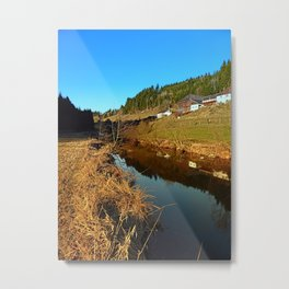 A river, the valley and traditional farmland | waterscape photography Metal Print