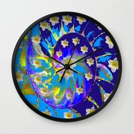 MODERN ART GARDEN BLUE SPIRAL &  DAFFODILS ART Wall Clock