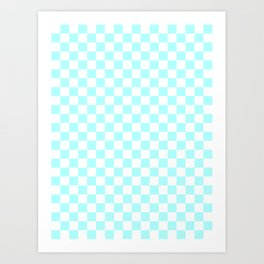 Small Checkered - White and Celeste Cyan Art Print