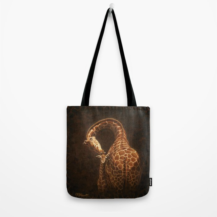 Reticulated Giraffe Mother and Baby Tote Bag