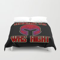 magneto Duvet Covers featuring Magneto was right by Buby87