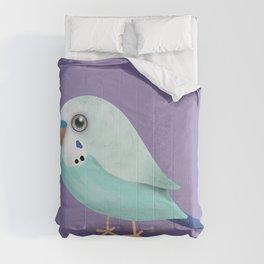 Cute illustration af a blue budgie Comforters