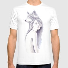 Wolf Shadow MEDIUM Mens Fitted Tee White