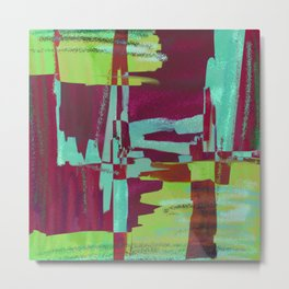 Raspberry Jam - Textured, abstract, raspberry, cyan and green painting Metal Print