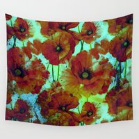 shiva Wall Tapestries featuring marsala floral by clemm