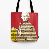 mozart Tote Bags featuring Wolfgang Amadeus Mozart by Marko Köppe