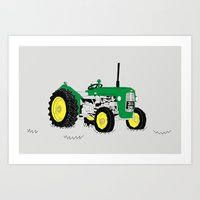 Vintage Tractor Green Art Print