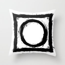 Black and white shapes splatter Throw Pillow