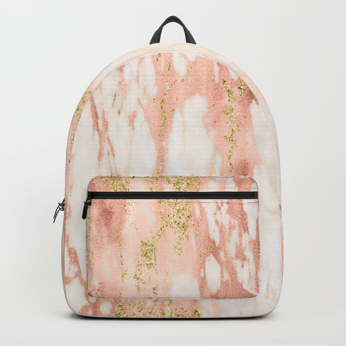 Rose Gold Marble - Rose Gold Yellow Gold Shimmery Metallic Marble Backpack