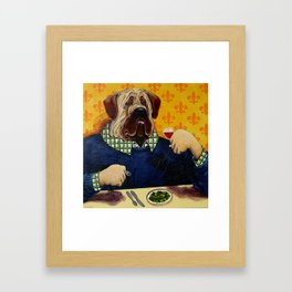 Massive Mastiff Munching Framed Art Print