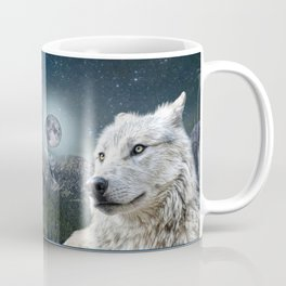 White Wolf and Moonlight Coffee Mug