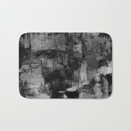 Crackled Gray - Black, white and gray, grey textured abstract Bath Mat