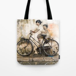 Kids on Bicycle - Reflections of Penang Tote Bag