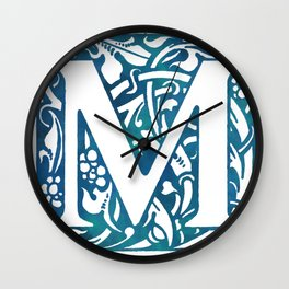 Letter M Antique Floral Letterpress Wall Clock