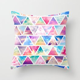 Pink Clouds Teal Sky Abstract Triangles Pattern Throw Pillow