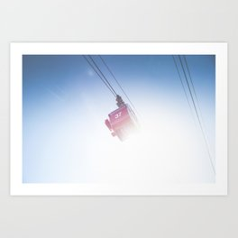 Cable car at a high alpine mountain Art Print