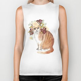 cat with flower crown Biker Tank