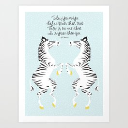 Two Zebras (Dr. Seuss) Blue Art Print