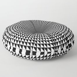 Circle of Triangles against Lines Floor Pillow