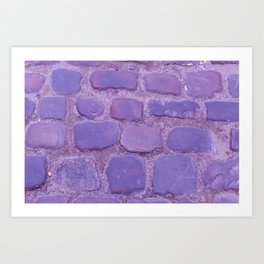 Ultra Violet Texture Ancient Cobblestone Roadway Close-up Art Print