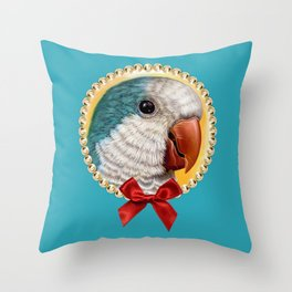 Blue quaker parrot realistic painting Throw Pillow
