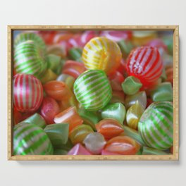 Multi-Colored Striped Candy Serving Tray