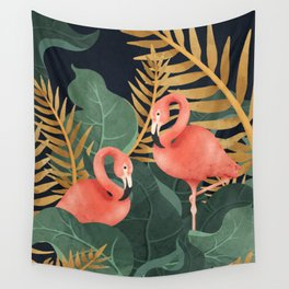 Two Flamingos Wall Tapestry