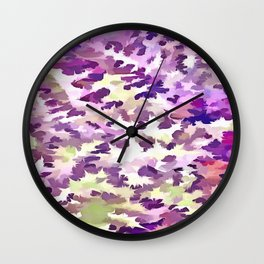 Foliage Abstract Pop Art In UltraViolet Purple and Lilac Wall Clock