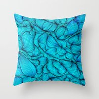 aqua Throw Pillows featuring Aqua by DuckyB