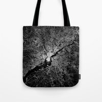 philadelphia Tote Bags featuring philadelphia map by Line Line Lines