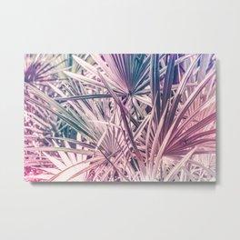 Pink tropical leaves Metal Print