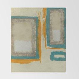 Soft And Bold Rothko Inspired - Corbin Henry Modern Art - Teal Blue Orange Beige Throw Blanket