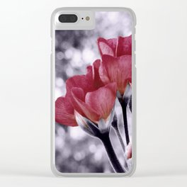 Flowers Pop of Color Light Maroon Clear iPhone Case